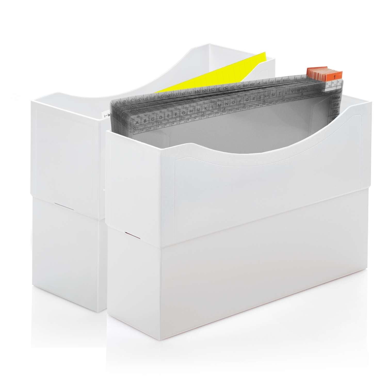 2 Kunststoffboxen lichtgrau, 31 Tages-Mappen (1-31),             <br>12 Monats-Mappen (Jan-Dez) aus stabiler Kunststofffolie <br>1 Folienschreiber <br>10 Multifunktions-Mappen PP mit Schiebereiter <br>1 Mappenstütze