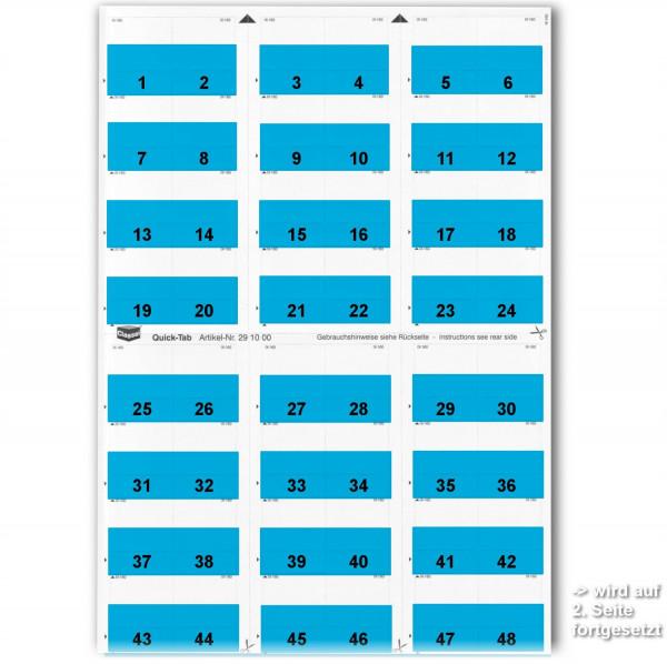 291003W Daten-Tabs blau, 1-52 (2 Bögen)