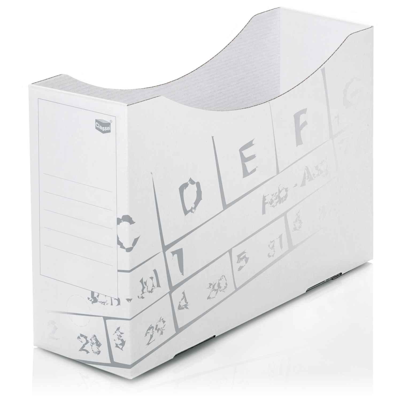 <p>aus Karton (Microwellpappe) - mit Rückenschildaufdruck auf Vorder- und Rückseite und Schnappverschluss für sofortiges Einstellen der Mappen. Offen - ohne Staubdeckel. </p><p> <strong>Material:</strong> Karton/Feinwelle<br> <strong>Farbe:</str ...