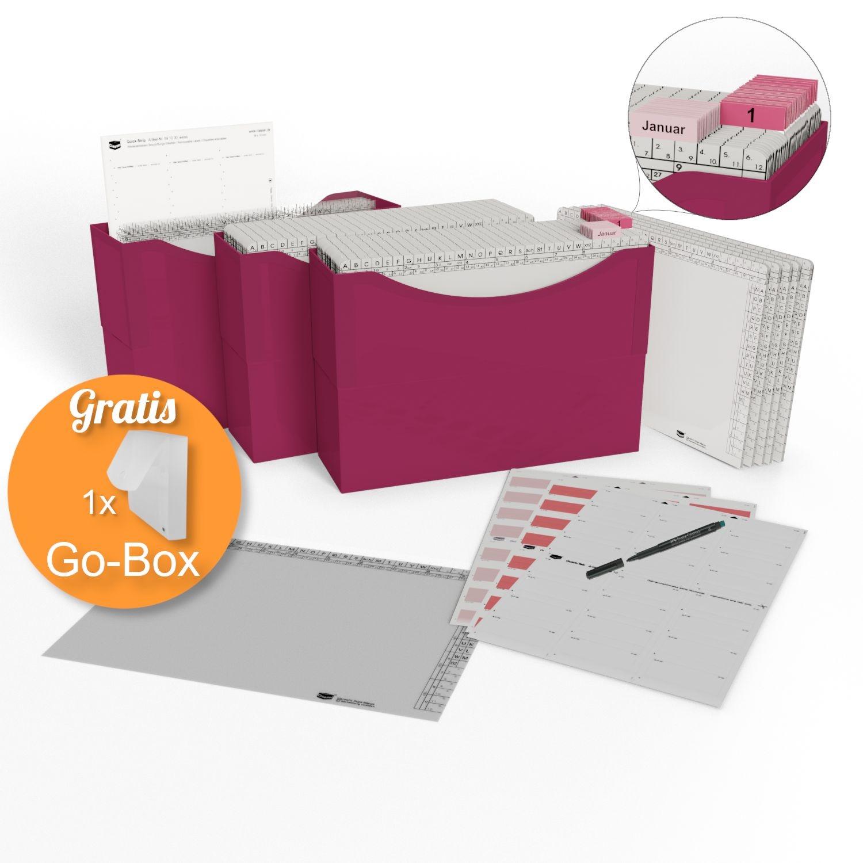 <p>HomeOffice Edition magenta red</p><p> 3 Kunststoffboxen magenta red, <br />50 Orgamappen 150 weiß, <br />5 Orga-Dehnmappen Elegance weiß 250g, <br />10 Klarsichtmappen transparent, <br />1 Quick-Strip weiß, ablösbar, <br />31 Tages-Mappen und ...