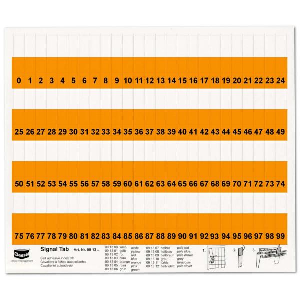 091304N Orga-Tabs 10mm orange, Nr.-Druck 1-100