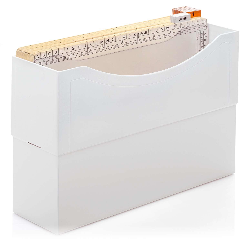 <p>43 Mappen untergliedert in 31 Tages- und 12 Monatsmappen und stehen für eine perfekte Wiedervorlage. </p><p> 1 Kunstoffbox, lichtgrau, <br>31 Tages-Mappen (1-31), <br />12 Monats-Mappen (Jan-Dez), <br>1 Mappenstütze </p>