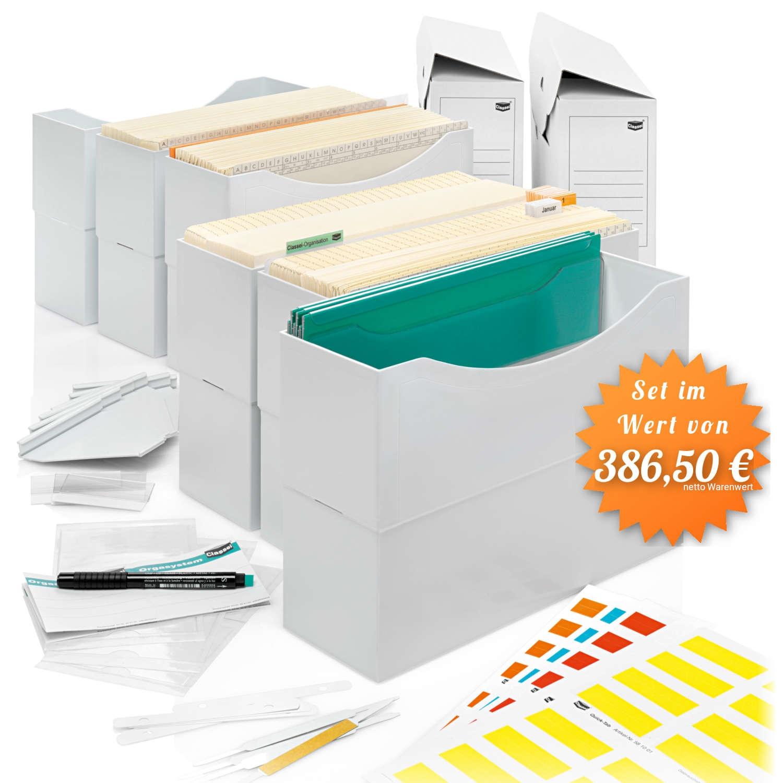 6 Kunststoffboxen, lichtgrau mit Griffleisten, 250 verschied. Orga-Mappen,             <br>10 Multifunktionsmappen, 3 Sammler, <br>3 Dehnsammler, 7 verschied. Farben Quick-Tabs, <br />2 Mappenstützen, 10 Leitkarten, Archivbox, Terminmappen-Set (1-31, Jan-D ...