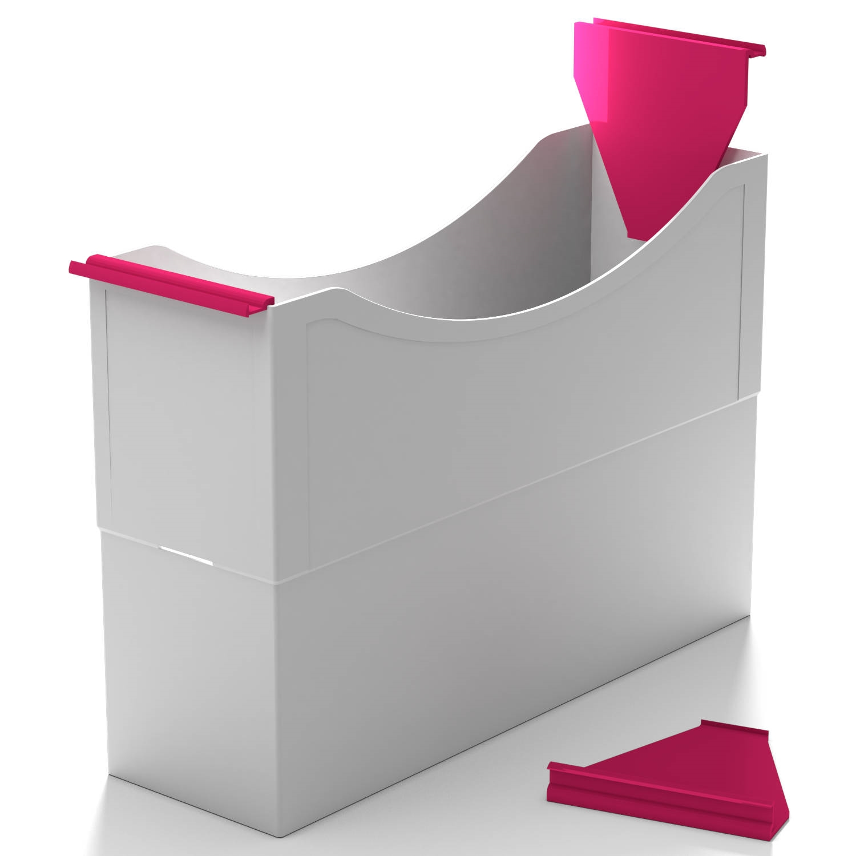 <p>Für Kunststoff-Box ArtNr. 10 40..</p>Einzeln in die seitlichen Schlitze der Box eingeclipst, lassen sich die Boxen besser handhaben oder in genormten Hängerahmen abhängen. Zum besseren Herausziehen aus Regalen genügt eine Griffleiste an der Vo ...