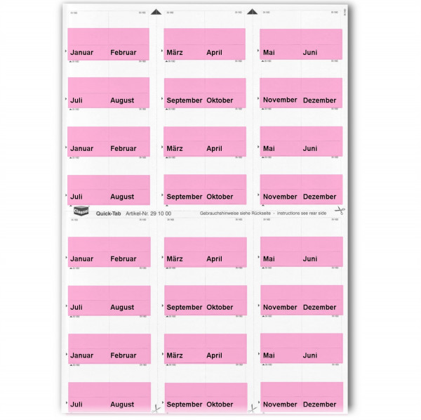 291005M Monats-Tabs rosa (Januar-Dezember)