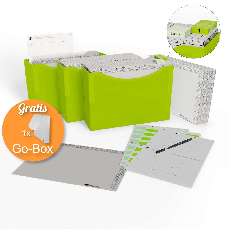 <p>HomeOffice Edition lime green</p><p> 3 Kunststoffboxen lime green, <br />50 Orgamappen 150 weiß, <br />5 Orga-Dehnmappen Elegance weiß 250g, <br />10 Klarsichtmappen transparent, <br />1 Quick-Strip weiß, ablösbar, <br />31 Tages-Mappen und 1 ...