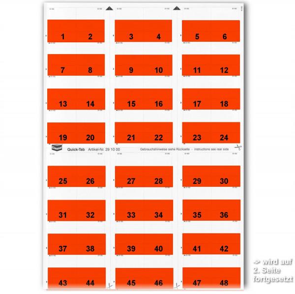 291002W Daten-Tabs rot, 1-52 (2 Bögen)