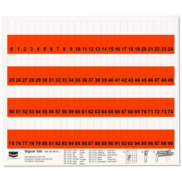 091302N Orga-Tabs 10mm rot, Nr.-Druck 1-100