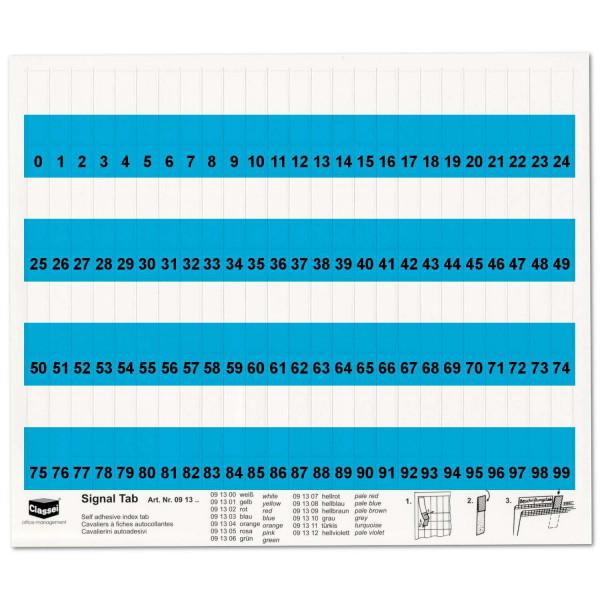 091303N Orga-Tabs 10mm blau, Nr.-Druck 1-100