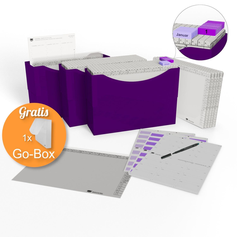 <p>HomeOffice Edition puple violett</p><p> 3 Kunststoffboxen purple violett, <br />50 Orgamappen 150 weiß, <br />5 Orga-Dehnmappen Elegance weiß 250g, <br />10 Klarsichtmappen transparent, <br />1 Quick-Strip weiß, ablösbar, <br />31 Tages-Mappe ...