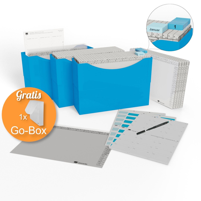 <p>HomeOffice Edition azure blue</p><p> 3 Kunststoffboxen azure blue, <br />50 Orgamappen 150 weiß, <br />5 Orga-Dehnmappen Elegance weiß 250g, <br />10 Klarsichtmappen transparent, <br />1 Quick-Strip weiß, ablösbar, <br />31 Tages-Mappen und 1 ...